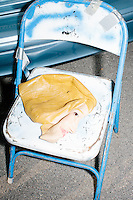 A Hillary Clinton Halloween mask lays on a chair in Manchester, NH. The mask was used by Shalom International president Bob Kunst, of Miami, Florida, while he held an anti-Hillary Clinton sign outside the kick-off event at Texas senator and Republican presidential candidate Ted Cruz' s New Hampshire campaign headquarters in Manchester, New Hampshire.