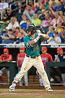 G.K. Young #37 of the Coastal Carolina Chanticleers bats during a College World Series Finals game between the Coastal Carolina Chanticleers and Arizona Wildcats at TD Ameritrade Park on June 27, 2016 in Omaha, Nebraska. (Brace Hemmelgarn/Four Seam Images)