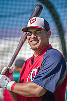 11 March 2014: Washington Nationals catcher Wilson Ramos awaits his turn in the batting cage prior to a Spring Training game against the New York Yankees at Space Coast Stadium in Viera, Florida. The Nationals defeated the Yankees 3-2 in Grapefruit League play. Mandatory Credit: Ed Wolfstein Photo *** RAW (NEF) Image File Available ***