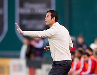New York Red Bulls head coach Mike Petke yells to his team during the game at RFK Stadium in Washington, DC.  New York Red Bulls defeated D.C. United, 2-0.