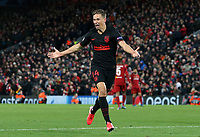 Atletico Madrid's Marcos Llorente celebrates scoring his side's second goal <br /> <br /> Photographer Rich Linley/CameraSport<br /> <br /> UEFA Champions League Round of 16 Second Leg - Liverpool v Atletico Madrid - Wednesday 11th March 2020 - Anfield - Liverpool<br />  <br /> World Copyright © 2020 CameraSport. All rights reserved. 43 Linden Ave. Countesthorpe. Leicester. England. LE8 5PG - Tel: +44 (0) 116 277 4147 - admin@camerasport.com - www.camerasport.com