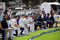 Players take a knee to support the Black Lives Matter movement during day one of the International Test Cricket match between the New Zealand Black Caps and West Indies at the Basin Reserve in Wellington, New Zealand on Friday, 11 December 2020. Photo: Dave Lintott / lintottphoto.co.nz