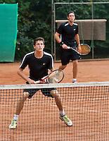 2013-08-17, Netherlands, Raalte,  TV Ramele, Tennis, NRTK 2013, National Ranking Tennis Champ,  Sidney de Boer (r) and Daan Maasland<br /> <br /> <br /> Photo: Henk Koster