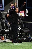 ATLANTA, GA - AUGUST 29: Orlando City manager Oscar Pareja celebrates during a game between Orlando City SC and Atlanta United FC at Marecedes-Benz Stadium on August 29, 2020 in Atlanta, Georgia.