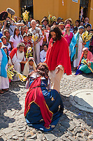 Jesus with the Woman Caught in Adultery.  (John 8:1-11)  Palm Sunday Re-enactment of events in the life of Jesus, by the group called Luna LLena (Full Moon), a group of volunteers in Antigua, Guatemala.