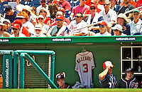 30 May 2011: A Harmon Killebrew jersey hangs in the Washington Nationals dugout commemorating is life and 22-year baseball career. Killebrew played for the Washington Senators and was inducted into the Baseball Hall of Fame in 1984. Killebrew passed away May 17, 2011. A crowd of 34,789 enjoyed the Memorial Day game between the Washington Nationals and the Philadelphia Phillies at Nationals Park in Washington, District of Columbia. The Phillies defeated the Nationals 5-4 to take the first game of their 3-game series. Mandatory Credit: Ed Wolfstein Photo