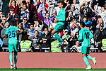Raphael Varane of Real Madrid celebrates goal during La Liga match between Real Madrid and RCD Espanyol at Santiago Bernabeu Stadium in Madrid, Spain. December 07, 2019. (ALTERPHOTOS/A. Perez Meca)