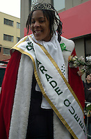 March 14 2004  Montreal, Quebec, Canada.<br /> <br /> <br /> Tara Hecksher , Half-irish and Half Nigerian Queen of the<br /> Saint-Patrick Day Parade in Montreal, March 14 2004<br /> <br /> <br /> Mandatory Credit: Photo by Pierre Roussel- Images Distribution. (©) Copyright 2004 by Pierre Roussel