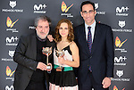 Javier Olivares (L) and Aura Garrido (C) win the award at Feroz Awards 2017 in Madrid, Spain. January 23, 2017. (ALTERPHOTOS/BorjaB.Hojas)