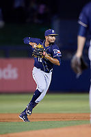 San Antonio Missions shortstop Jose Rondon (13) throws to first base during a game against the Tulsa Drillers on June 1, 2017 at ONEOK Field in Tulsa, Oklahoma.  Tulsa defeated San Antonio 5-4 in eleven innings.  (Mike Janes/Four Seam Images)