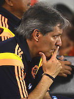 BARRANQUIILLA -COLOMBIA-22-OCTUBRE- 2014. Carlos Restrepo director tecnico de la seleccion de futbol de  Colombia sub 20 contra  Honduras  Sub-20  durante partido por la celebracion de los 90 años de la Liga De Futbol del Atlantico jugado en el estadio Metropolitano de Barranquilla. / Carlos Restrepo coach of Colombia  U20 against Honduras  U20 farrowed during the celebration of the 90th anniversary of the Atlantic League Soccer played at the Metropolitano stadium in Barranquilla. Photo:VizzorImage / Alfonso Cervantes / Stringer