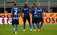 Calcio, Serie A: Inter Milano - AC Milan , Giuseppe Meazza (San Siro) stadium, in Milan, October 17, 2020.<br /> Inter's Romelu Lukaku (second left) celebrates after scoring with his teammates during the Italian Serie A football match between Inter and Milan at Giuseppe Meazza (San Siro) stadium, October 17, 2020.<br /> UPDATE IMAGES PRESS/Isabella Bonotto
