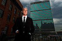 Human rights campaigner Ben Borgia outside the UN Headquarters building in New York. photo by Trevor Collens