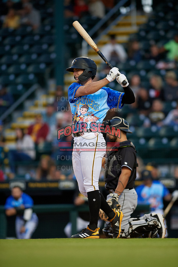 Bradenton Marauders Chris Sharpe (18) during a Florida State League game against the Jupiter Hammerheads on April 20, 2019 at LECOM Park in Bradenton, Florida.  Bradenton defeated Jupiter 3-2.  (Mike Janes/Four Seam Images)