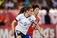 United States (USA) midfielder Heather O'Reilly (9). The women's national team of the United States defeated the Korea Republic 5-0 during an international friendly at Red Bull Arena in Harrison, NJ, on June 20, 2013.