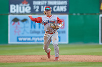 Williamsport Crosscutters shortstop Bryson Stott (15) throws to first base during a NY-Penn League game against the Batavia Muckdogs on August 25, 2019 at Dwyer Stadium in Batavia, New York.  Williamsport defeated Batavia 10-3.  (Mike Janes/Four Seam Images)