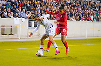 HOUSTON, TX - JANUARY 31: Tobin Heath #17 of the United States attempts to move past Aldrith Quintero #10 of Panama in the corner during a game between Panama and USWNT at BBVA Stadium on January 31, 2020 in Houston, Texas.