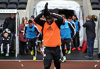 Wednesday, 23 April 2014<br /> Pictured: Wilfried Bony takes to the pitch.<br /> Re: Swansea City FC are holding an open training session for their supporters at the Liberty Stadium, south Wales,