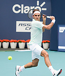 March 25, 2019: Roger Federer (SUI) defeated Filip Krajinovic (SRB) 7-5, 6-3, at the Miami Open being played at Hard Rock Stadium in Miami, Florida. ©Karla Kinne/Tennisclix 2010/CSM