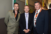 Martin Devlin, Sport and Recreation Minister Jonathan Coleman and Miles Davis. Official Draw for the FIFA U 20 Football World Cup, New Zealand 2015. Sky City, Auckland. Tuesday 10 February 2015. Copyright photo: Andrew Cornaga / www.photosport.co.nz