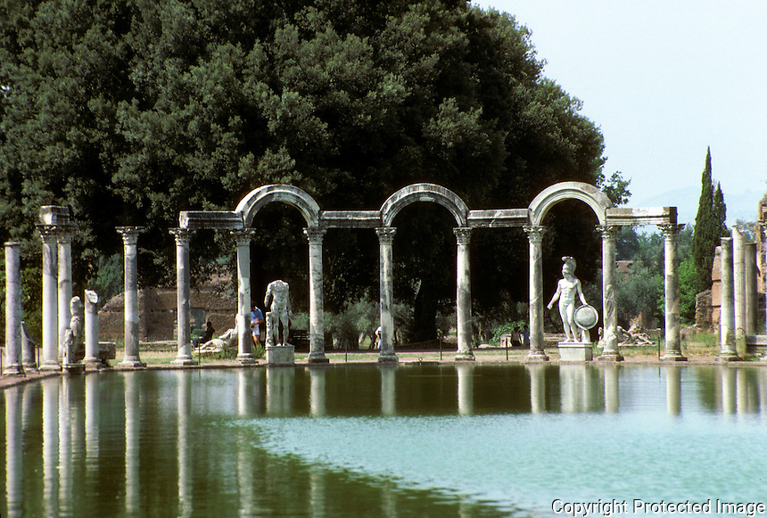 """Italy: Tivoli--Hadrian's Villa. """"Canopus""""--a pool--looking from south end to north. Photo '83."""