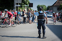 gendarmerie at work at the stage start<br /> <br /> stage 7: Aoste > Alpe d'Huez (168km)<br /> 69th Critérium du Dauphiné 2017