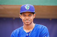 Melvin Santana (9) of the Ogden Raptors prior to the game against the Orem Owlz in Pioneer League action at Lindquist Field on June 27, 2014 in Ogden, Utah.  (Stephen Smith/Four Seam Images)