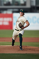 Greensboro Grasshoppers starting pitcher Quinn Priester (15) in action against the Wilmington Blue Rocks at First National Bank Field on May 25, 2021 in Greensboro, North Carolina. (Brian Westerholt/Four Seam Images)
