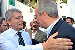 NICHI VENDOLA E WALTER VELTRONI<br /> MANIFESTAZIONE PER LA LIBERTA' DI STAMPA PROMOSSA DAL FNSI<br /> PIAZZA DEL POPOLO ROMA 2009