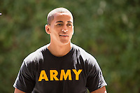Man, model-released, portrait. 20-year-old male soldier off duty, casual portraits.
