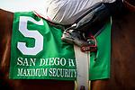 Maximum Security and Abel Cedillo before the San Diego Handicap at Del Mar, in Del Mar Ca, July 25, 2020. (Photo: Alex Evers)