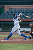AZL Royals first baseman Logan Porter (8) follows through on his swing during an Arizona League game against the AZL Giants Black at Scottsdale Stadium on August 7, 2018 in Scottsdale, Arizona. The AZL Giants Black defeated the AZL Royals by a score of 2-1. (Zachary Lucy/Four Seam Images)