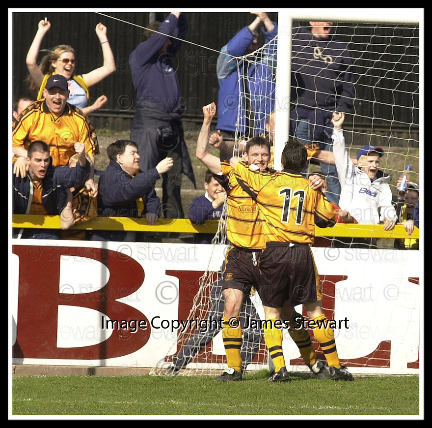 06/04/2002                 Copyright Pic : James Stewart .Ref :     .File Name : stewart-alloa v qos   11.GARETH HUTCHISON IS CONGRATULATED BY IAN LITTLE AFTER HE KNOCKED THE BALL INTO THE EMPTY NET FOR ALLOA'S FIRST GOAL....James Stewart Photo Agency, 19 Carronlea Drive, Falkirk. FK2 8DN      Vat Reg No. 607 6932 25.Office     : +44 (0)1324 570906     .Mobile  : + 44 (0)7721 416997.Fax         :  +44 (0)1324 630007.E-mail  :  jim@jspa.co.uk.If you require further information then contact Jim Stewart on any of the numbers above.........