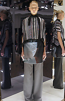 Model in Look 2: Stripe Tapestry Top, Kaleidoscope Dress, Charcoal Solid Suiting Pant