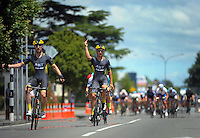 JLT Condor's Chris Lawless (left) and Alex Frame take first and second place. UCI Oceania Tour - NZ Cycling Classic stage one - Masterton to Gladstone circuit in Wairarapa, New Zealand on Wednesday, 20 January 2016. Photo: Dave Lintott / lintottphoto.co.nz