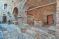 The well in Militas in the medieval  mastic village of Mesta on the island of Chios, Greece