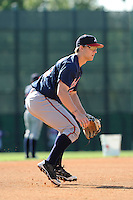 Infielder Dustin Peterson (15) of the Atlanta Braves farm system in a Minor League Spring Training workout on Tuesday, March 17, 2015, at the ESPN Wide World of Sports Complex in Lake Buena Vista, Florida. (Tom Priddy/Four Seam Images)
