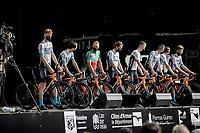 Jack Haig (AUS/Bahrain Victorious) & teammates in a fresh kit at the pre Tour teams presentation of the 108th Tour de France 2021 in Brest at Le Grand Départ <br /> <br /> ©kramon