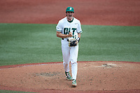 Charlotte 49ers relief pitcher Andrew Lindsey (32) reacts after getting the third out of an inning against the UTSA Roadrunners at Hayes Stadium on April 18, 2021 in Charlotte, North Carolina. (Brian Westerholt/Four Seam Images)