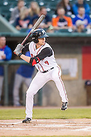 Lansing Lugnuts outfielder Lane Thomas (9) at bat against the South Bend Cubs on May 12, 2016 at Cooley Law School Stadium in Lansing, Michigan. Lansing defeated South Bend 5-0. (Andrew Woolley/Four Seam Images)