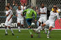 Osvaldo Alonso of the Seattle Sounders goes for the goal against several LA Galaxy defenders at Quest Field on May 10, 2009. The Sounders and Galaxy played to a 1-1 draw.