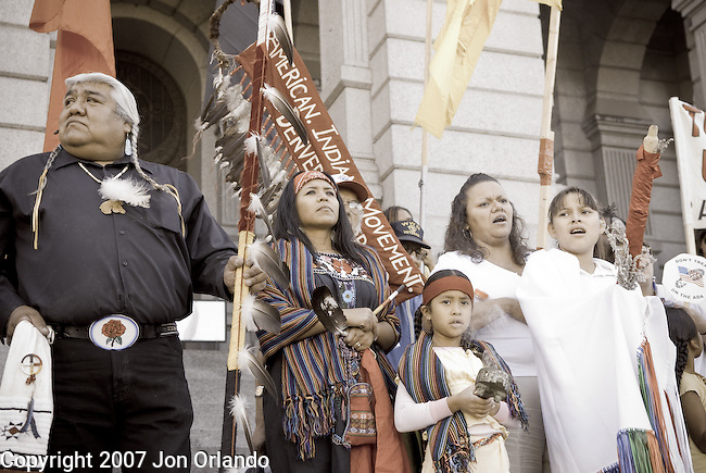 More than 1000 Native Americans and their supporters attended the Transform Columbus Day march and rally on October 6th, 2007 in Denver, Colorado in an attempt to stop the celebration of Columbus Day.  83 protesters were arrested trying to stop the Columbs Day march.