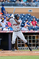 Josh Bell (18) of the Indianapolis Indians at bat against the Durham Bulls at Durham Bulls Athletic Park on August 4, 2015 in Durham, North Carolina.  The Indians defeated the Bulls 5-1.  (Brian Westerholt/Four Seam Images)