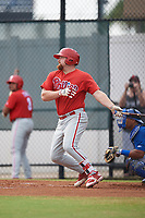 Philadelphia Phillies first baseman Quincy Nieporte (33) follows through on a swing during an Instructional League game against the Toronto Blue Jays on September 30, 2017 at the Carpenter Complex in Clearwater, Florida.  (Mike Janes/Four Seam Images)