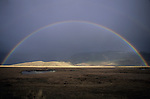Full rainbow over the National Elk Refuge in Jackson, Wyoming.
