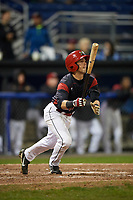 Batavia Muckdogs right fielder Harrison White (40) flies out during a game against the Auburn Doubledays on September 6, 2017 at Dwyer Stadium in Batavia, New York.  Auburn defeated Batavia 6-3.  (Mike Janes/Four Seam Images)