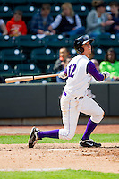 David Herbek (12) of the Winston-Salem Dash follows through on his swing against the Wilmington Blue Rocks at BB&T Ballpark on April 21, 2013 in Winston-Salem, North Carolina.  The Blue Rocks defeated the Dash 5-3.  (Brian Westerholt/Four Seam Images)