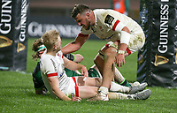 Friday 23rd April 2021; David Shanahan is congratulated by Sean Reidy after he scored during the first round of the Guinness PRO14 Rainbow Cup between Ulster Rugby and Connacht Rugby at Kingspan Stadium, Ravenhill Park, Belfast, Northern Ireland. Photo by John Dickson/Dicksondigital
