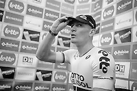 stage winner André Greipel (DEU/Lotto-Belisol) in the finishline press tent, prepping/washing for interviews and podium<br /> <br /> 2014 Belgium Tour<br /> stage 4: Lacs de l'Eau d'Heure - Lacs de l'Eau d'Heure (178km)