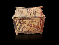 Minoan  pottery gabled larnax coffin chest with birds and marine animals,  Anthanatoi 1370-1250 BC, Heraklion Archaeological  Museum, black background.
